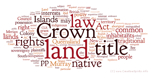A word cloud on the Mabo legislation via Creative Spirits http://www.creativespirits.info/aboriginalculture/land/native-title