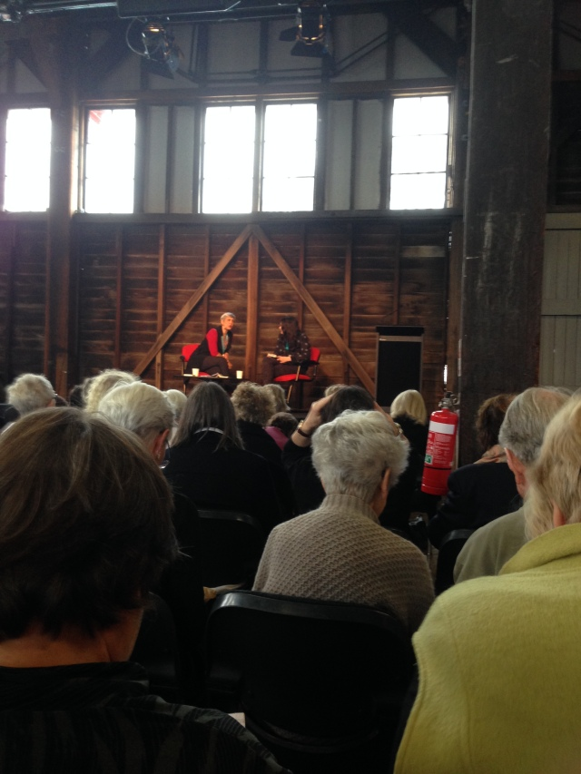Helen Macdonald (R) in conversation with Caroline Baum