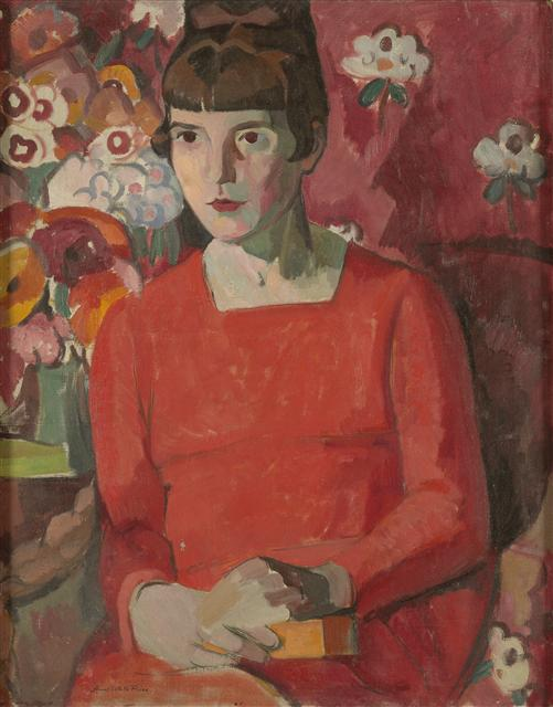 Portrait of Katherine Mansfield by American artist Anne Estelle Rice, 1918