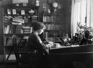 Sigrid Undset at her desk